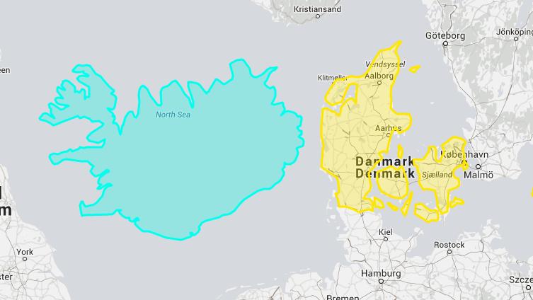 Her kan man se størrelsesforholdet mellem Island og Danmark. Mon ikke mange danskere tror, at Island er mindre?
